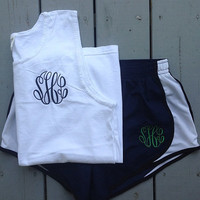 Monogrammed Comfort Color Tank with Running by GladevilleFarmhouse