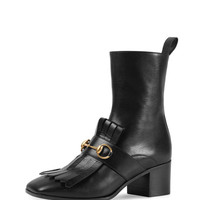 Polly Kiltie Leather Ankle Boot, Nero