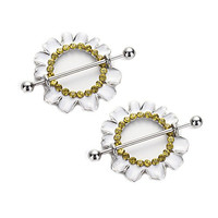 Vcmart 1 Pair 316L Surgical Steel White Plating Chrysanthemum Nipple Piercing Bar 14G