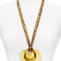 Kenneth Jay Lane Wooden Bead Pendant Necklace, 28"