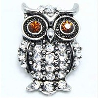 Rhinestone Brown Owl Snap 20mm for Snap Jewelry