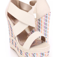 Ivory Strappy Open Toe Wedges Elastic