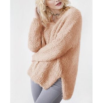 Dreamers - Popcorn Yarn Fuzzy V-Neck Pullover in More Colors