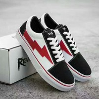 Vans new red lightning sports canvas shoes H-CSXYQGCZDL-CY