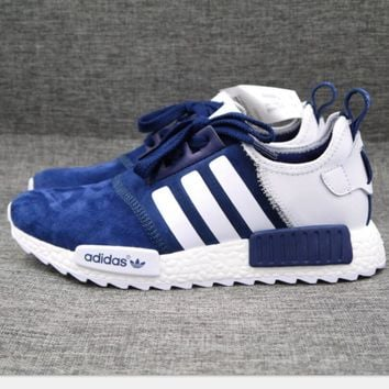 Adidas NMD Fashion Sneaker sports shoes blue-white line High quality H-MDTY-SHINING