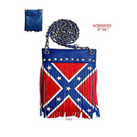 Rebel Flag Fringe Crossbody Purse
