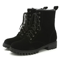 Black Lace Up Suedette Chunky Ankle Boots