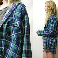 90s Vintage PLAID SHIRT Flannel Check GRUNGE Oversized Mens Blue / Green Cotton Button up Long Sleeve Checkered top vtg 1990s M L