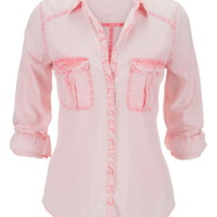 Coral Lightweight Button Down Boyfriend Shirt - Calypso Coral