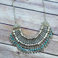 Made It Necklace- Turquoise/Silver