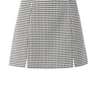 Monochrome Houndstooth Notch Split Skirt