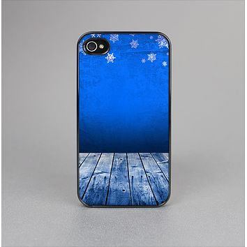 The Snowy Blue Wooden Dock Skin-Sert Case for the Apple iPhone 4-4s