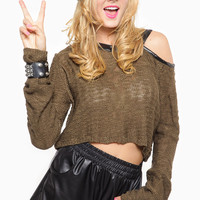 Olive Knitted Faux Leather Contrast Crop Top