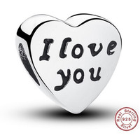 I LOVE YOU Bead / Charm 925 Sterling Silver Authentic fit Pandora Bracelet