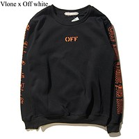 Vlone & Off white New fashion letter print couple long sleeve top sweater Black