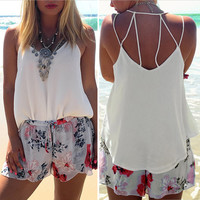 European Style Chiffon Backless Crop Top Fashion Camis Sleeveless Tank Top Spaghtti Strap Crop Top Blouse Blusa Cropped SN9