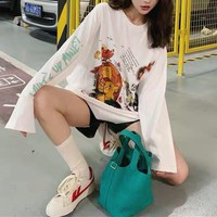 Women Cartoon All-match Stripe Fashion The Lion King Letter Logo Long Sleeve Sweater Tops