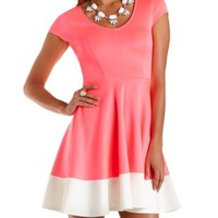 Color Block Cap Sleeve Skater Dress by Charlotte Russe