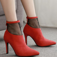 Hot style hot sell simple mesh stitching suede sexy pointed high heel ankle boots