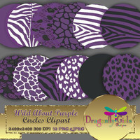 """80% OFF Sale WILD About Purple 8"""" Clip Art, commercial use, digital scrapbook papers, vector graphics, printable, Instant Download,"""