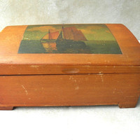 Vintage Keepsake Box Wooden Candy Box Nautical Picture
