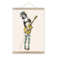 Vintage Retro Guitar Girl Pop Rock Roll Music A4 Large Art Print Poster Hippie Wall Picture Canvas Painting No Framed Home Decor