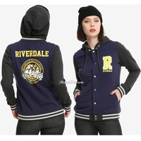 Licensed cool WB Riverdale High School Blue Varsity Hoodie Bulldogs R Hot Topic Exclusive NWT