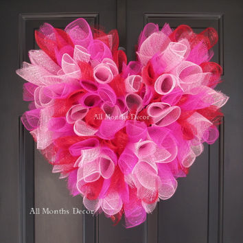 Light Pink, Red, & Hot Pink SweetHeart Deco Mesh Wreath