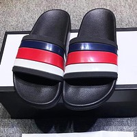 GUCCI Trending Women Men Casual Stripe Beach Flat Sandals Slippers Shoes