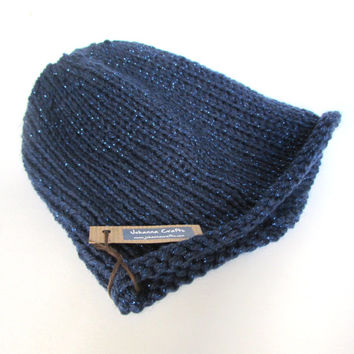 Slouchy beanie hat navy slouch hat dark blue knit slouchy hat Irish knit accessory for women sparkle hat birthday gift for her simple hat