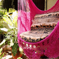 Fuchsia Sitting Hammock with Fringe Hanging Chair by hamanica
