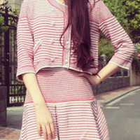 Pink And White Striped Half Sleeve Knit Cropped Top and A-line Pleated Mini Skirt Set