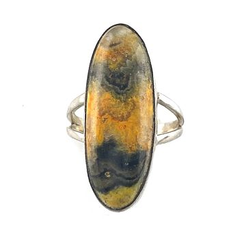 Bumble Bee Jasper Sterling Silver Oval Ring