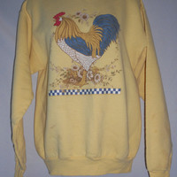 Vintage 80s Country Rooster Sweatshirt Adult Small         Damaged
