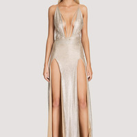 Deep V Neck Sexy Two Side High Slit Maxi Long Dress
