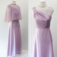 Juliette dress // 1970s lilac draped jersey assymetrical gathered cage straps grecian maxi // matching sheer cape // size M
