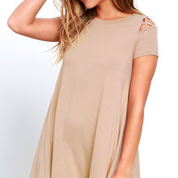 Take Effect Beige Swing Dress