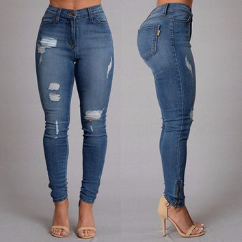 Women Summer Slim Hole Skinny Ripped Jeans Pencil Pants Trousers = 5709408193