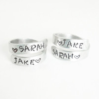 Hand stamped couple rings - His and hers rings - Boyfriend girlfriend rings - Name rings - Personalized rings - Silver tone aluminum rings