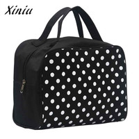 Make Up Bag Women Portable Entrancing Multifunction Makeup Toiletry One Side Dot Printing Cosmetic Bags Sac Cosmetique #2912