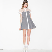 Black and White Plaid Skater Dress with Mesh Sleeve