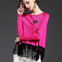 Long-Sleeved Fringed Knit Sweater