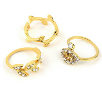 3pcs Midi Ring Gold&Silver Rhinestone Knuckle Finger Rings