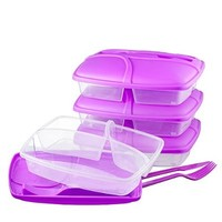 3-compartment Food Container with Lid - Set of Cutlery Included, Bento Lunch Box - Lunch Containers - Purple - Set of 3 (3)