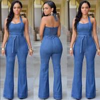 Halter Bell-bottoms Sheath Backless Pure Denim Jumpsuits