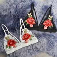 WOMEN'S LACE Lingerie  TWO ROSE embroidery white bra top