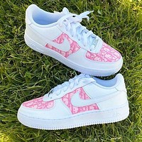 Nike Air Force 1 x Dior Print Contrast Shoes Trending Shoes White+Pink