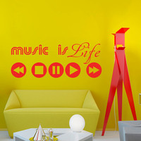 Wall Decal Sign Music is Life Button Play Music Recording Studio Bedroom Decals Vinyl Sticker Home Decor Art Mural Nursery Kids Room KV46