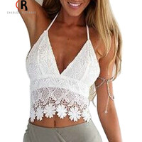 White Lace Backless Crochet Tassel Halter Crop Top Bralette Camis Sexy Deep V Neck Beachwear 2016 Women Clothing