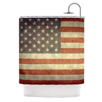 "Bruce Stanfield ""Flag of US Retro"" Rustic Shower Curtain"